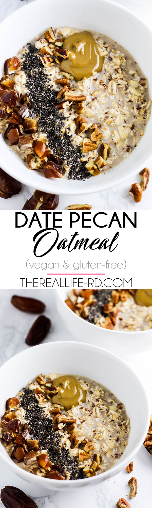 A tasty bowl of this Date Pecan Oatmeal is the perfect way to start the morning! (vegan & gluten-free)