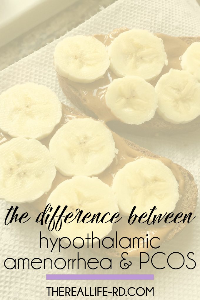 Today I'm talking about hypothalamic amenorrhea versus PCOS (polycystic ovarian syndrome) - two conditions that can sometimes be confused with one another. | The Real Life RD