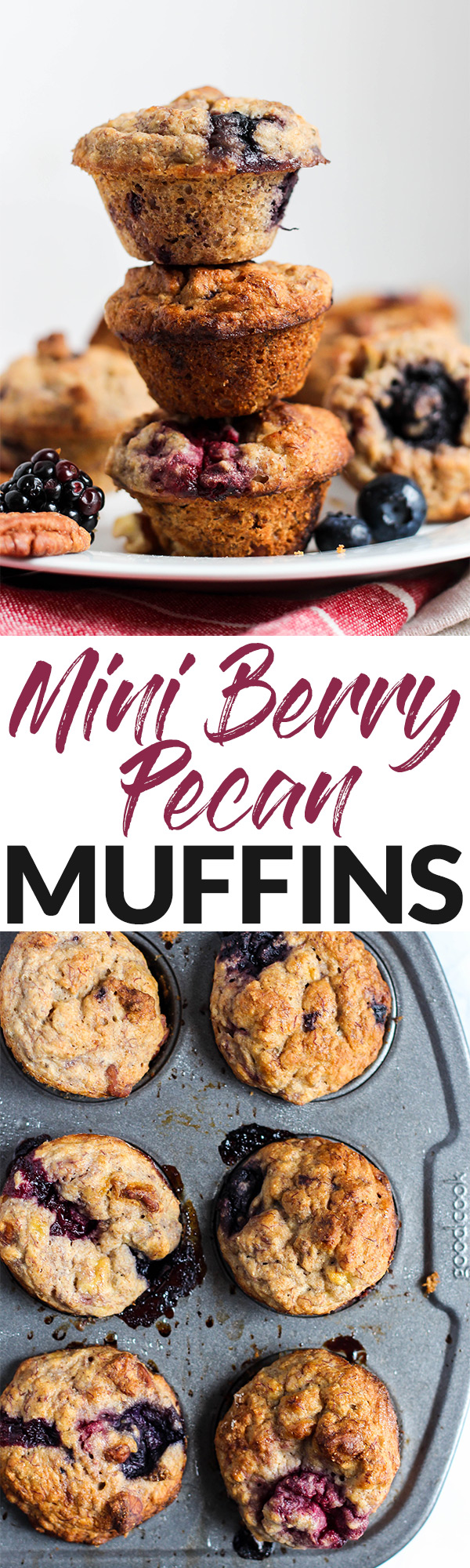 Adorable mini blueberry pecan muffins - perfect for breakfast or snacking! | The Real Life RD