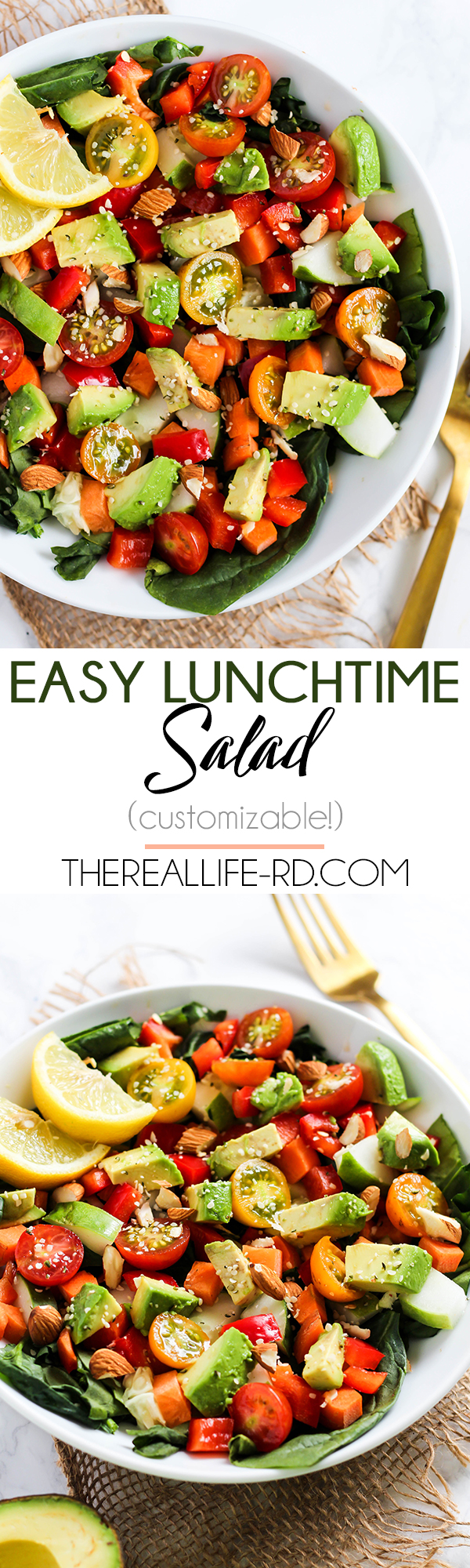I love making this easy Lunchtime Salad to pack for work - easy customizable with beans, chicken, or any other toppings! | The Real Life RD
