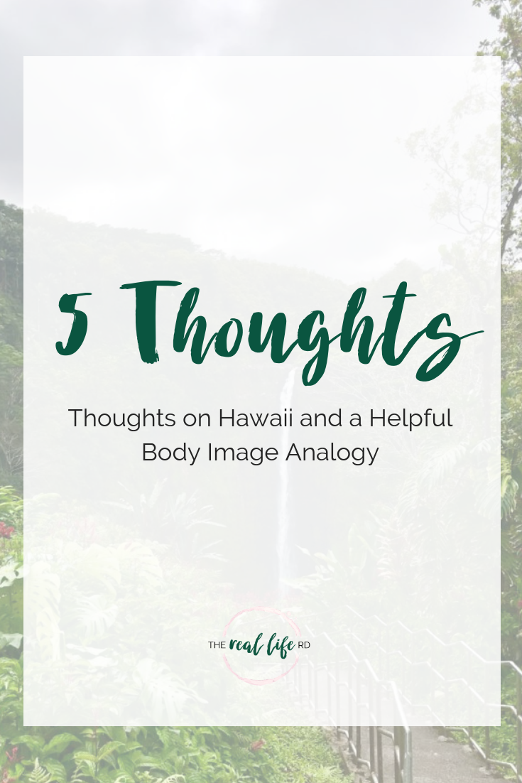 5 Thoughts [thoughts on hawaii and a helpful body image analogy]